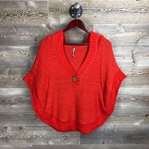 Free People Orange Knit Sweater hooded Poncho